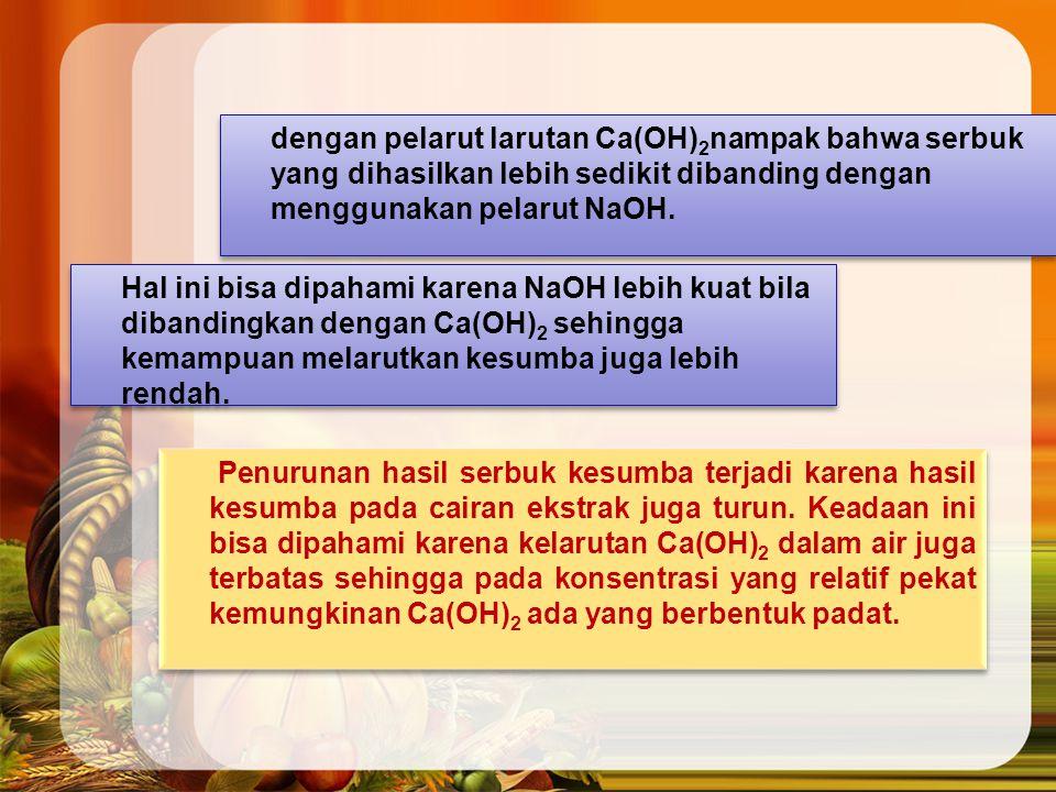 dengan pelarut larutan Ca(OH) 2 nampak bahwa serbuk yang dihasilkan lebih sedikit dibanding dengan menggunakan pelarut NaOH.