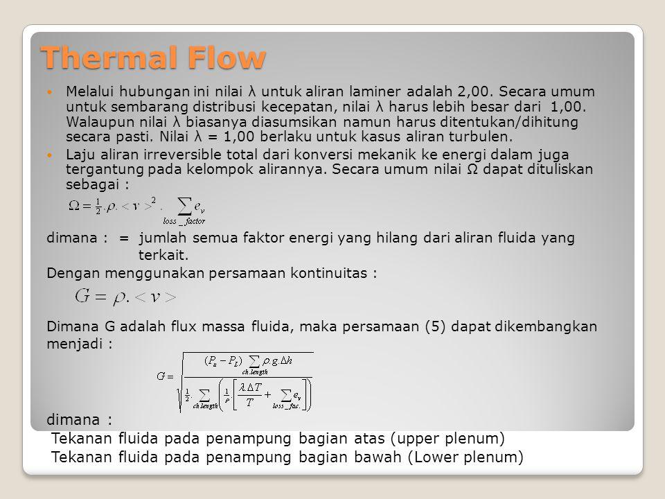 Thermal Flow Melalui hubungan ini nilai λ untuk aliran laminer adalah 2,00. Secara umum untuk sembarang distribusi kecepatan, nilai λ harus lebih besa