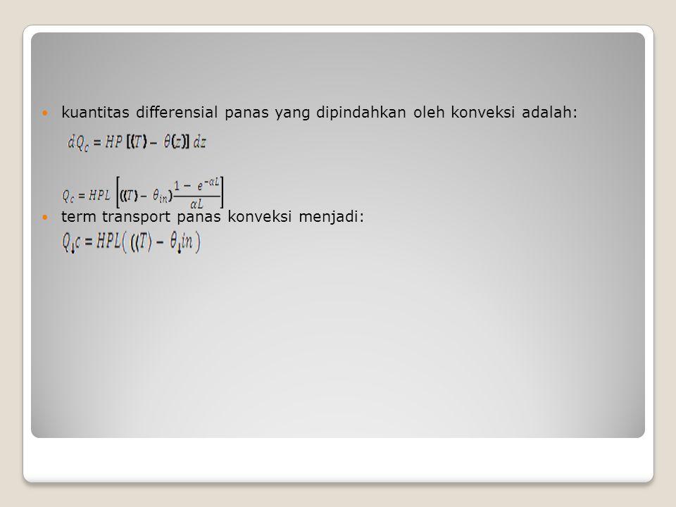 kuantitas differensial panas yang dipindahkan oleh konveksi adalah: term transport panas konveksi menjadi: