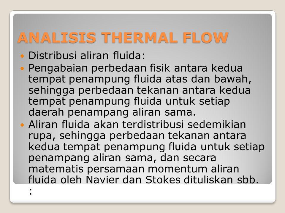 ANALISIS THERMAL FLOW Distribusi aliran fluida: Pengabaian perbedaan fisik antara kedua tempat penampung fluida atas dan bawah, sehingga perbedaan tekanan antara kedua tempat penampung fluida untuk setiap daerah penampang aliran sama.