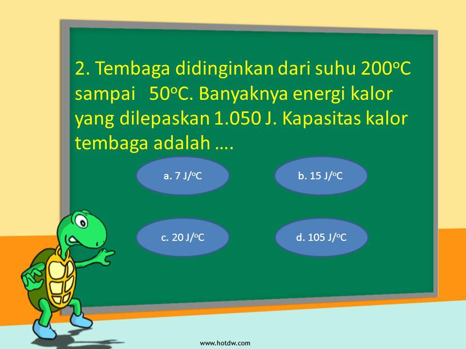 2.Tembaga didinginkan dari suhu 200 o C sampai 50 o C.