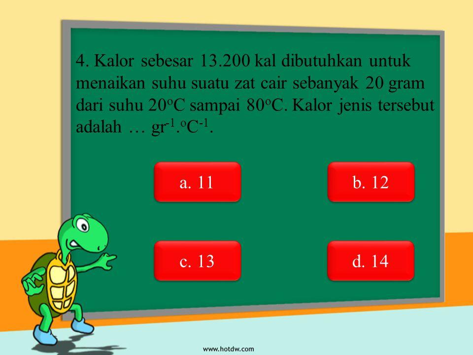 4. Kalor sebesar 13.200 kal dibutuhkan untuk menaikan suhu suatu zat cair sebanyak 20 gram dari suhu 20 o C sampai 80 o C. Kalor jenis tersebut adalah