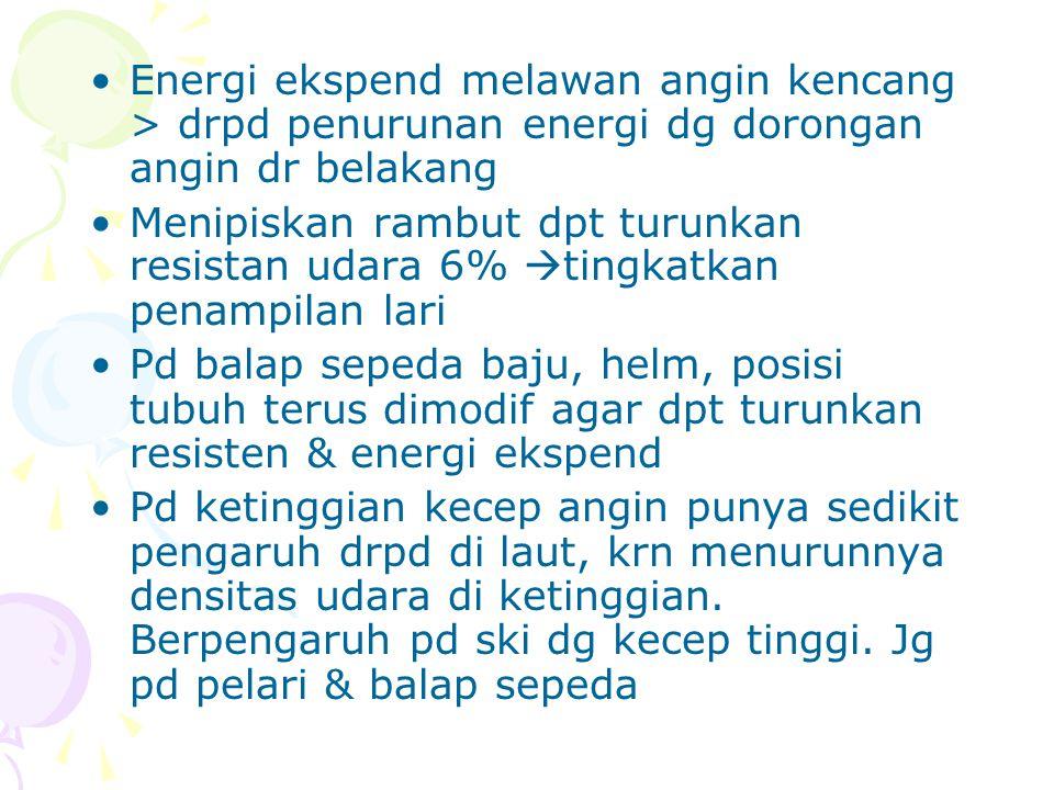 Lari di treadmill & lintasan lari tdk berbeda energi ekspend, namun pengaruh resistan udara perlu diperhitungkan pd lari lintasan U/ lari maraton energi ekspend relatif sama u pelari dg uk tubuh yg sama Pd lari maraton dibutuhkan 2300-2400 Kal, u/ pelari yg dilatih 100 mile/mgg energi ekspendnya 10.000 Kal/mgg, pelari lain yg lat 4 th energi ekspendnya 2.000 Kal.