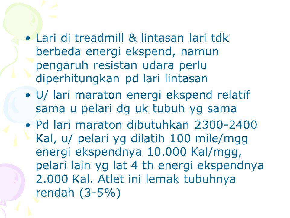 Lari di treadmill & lintasan lari tdk berbeda energi ekspend, namun pengaruh resistan udara perlu diperhitungkan pd lari lintasan U/ lari maraton ener