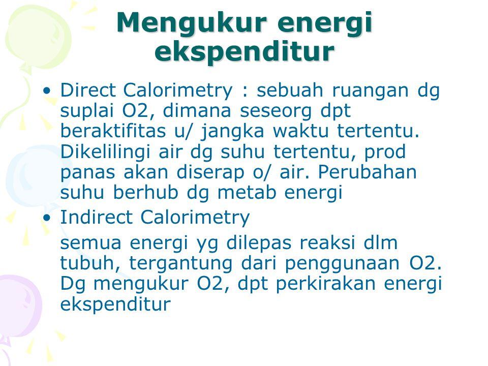 Indirect Calorimetry Sangat akurat dibanding direct calorimetry, sederhana,, murah 2 metode : tertutup & terbuka, pd alat yg tertutup subyek menghirup O2 dr kontainer sdg pd spirometer (alat terbuka) subyek menghirup O2 dr udara sekitar (O2 20,9%, CO2 0,03%, N 79 %).