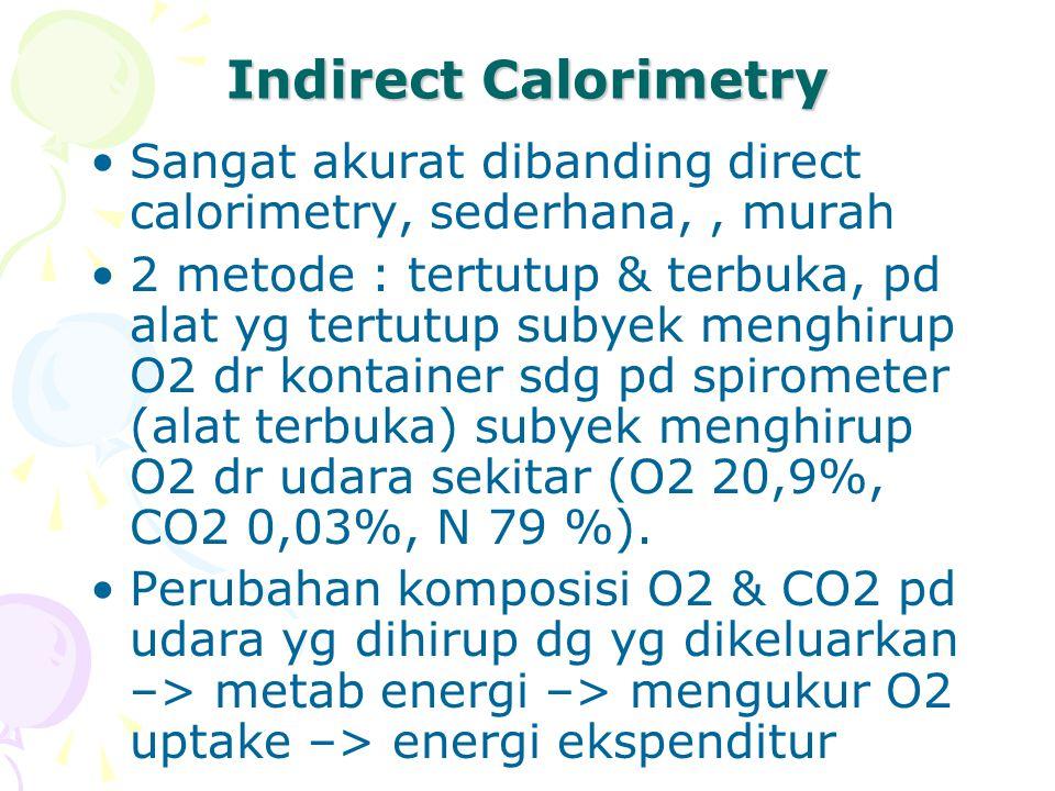 3 prosedur ukur O2 sec tdk langsung : portable spirometry, bag technique, instrumen komputer Perhitungan Calori dari O2 : 1 liter O2 kons = 4,82 Kal E panas yg dikeluarkan (5 Kal) Perhit Energi ekspenditur (Weir), Kal/menit = V E (STPD)x (1,044- 0,0499)x % O2 E, asumsi prot 12,5%.