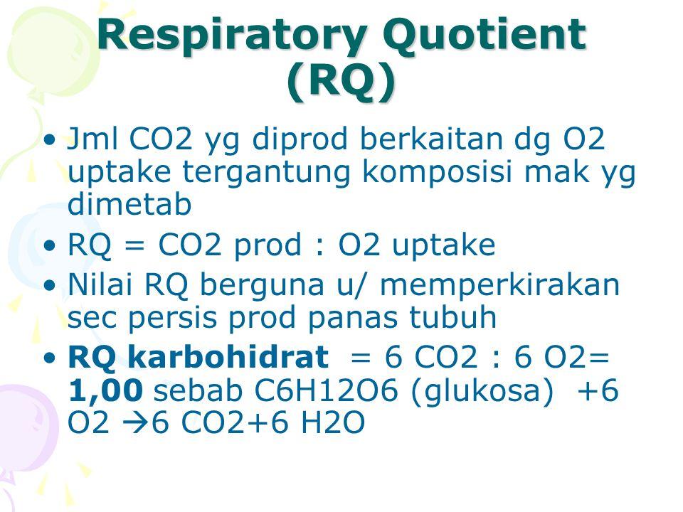 RQ Lemak = 16 CO2 : 23 O2= 0,70, sebab C16H32O2 (as palmitat) + 23 O2  16 CO2 +16 H2O RQ protein = 63 CO2 : 77 O2 = 0,818 (O,82), sebab C72H112N2O22S (albumin) + 77 O2  63 CO2 + 38 H2O + SO3 + 9CO(NH2)2 Deaminase prot di hati & fragment N & S dikeluarkan di urin & feses.