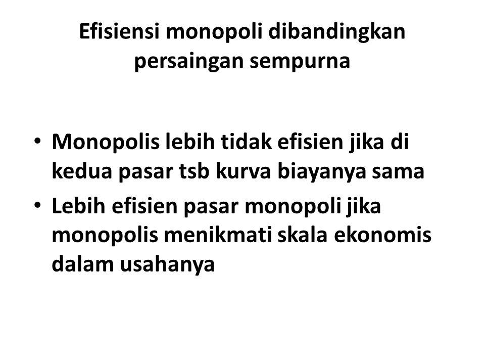 Efisiensi monopoli dibandingkan persaingan sempurna Monopolis lebih tidak efisien jika di kedua pasar tsb kurva biayanya sama Lebih efisien pasar mono