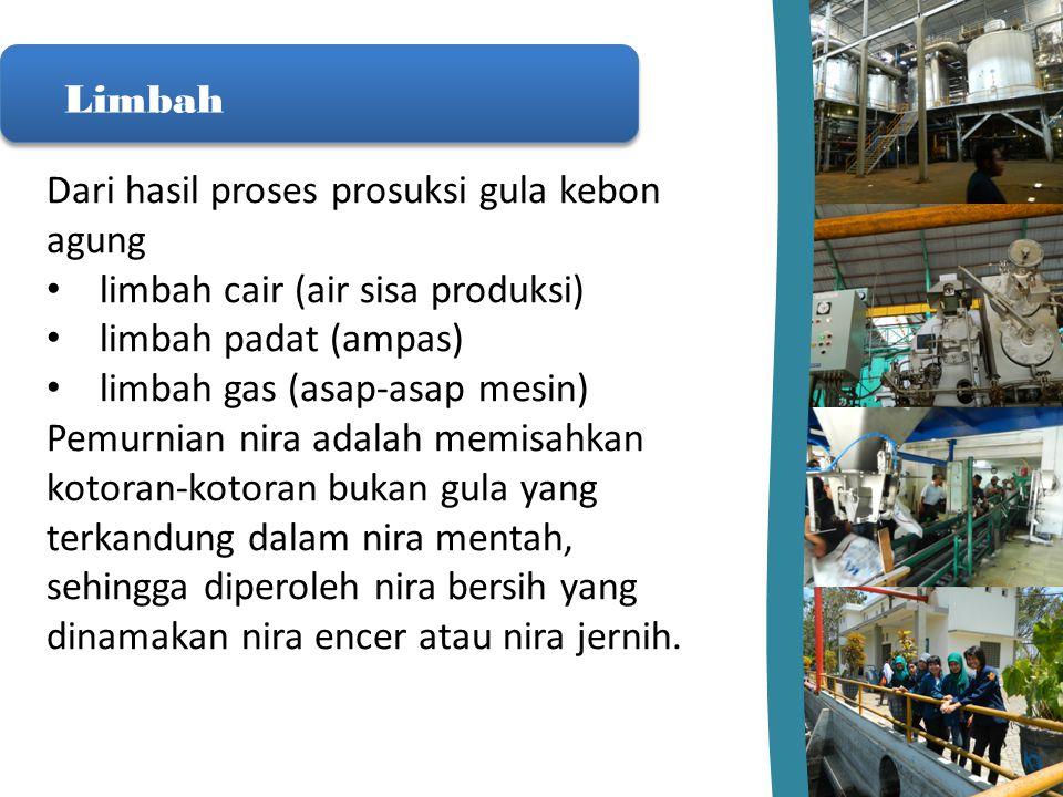 Limbah Dari hasil proses prosuksi gula kebon agung limbah cair (air sisa produksi) limbah padat (ampas) limbah gas (asap-asap mesin) Pemurnian nira ad