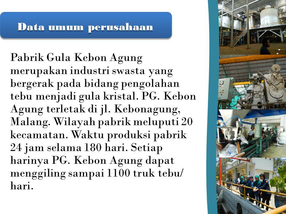 Data umum perusahaan Pabrik Gula Kebon Agung merupakan industri swasta yang bergerak pada bidang pengolahan tebu menjadi gula kristal. PG. Kebon Agung