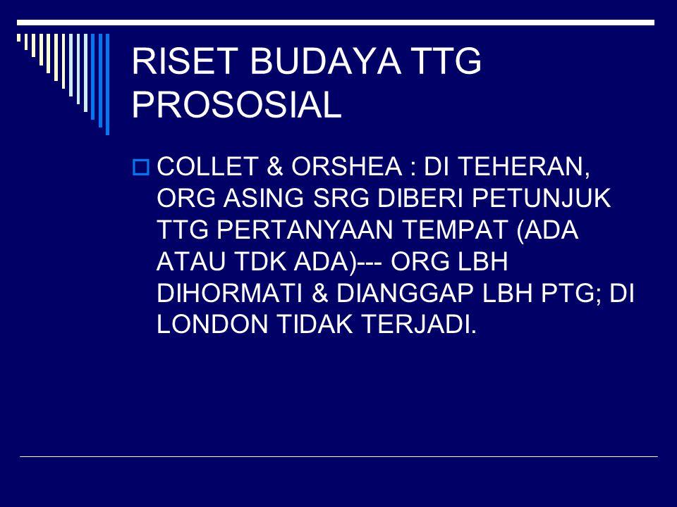 RISET BUDAYA TTG PROSOSIAL  COLLET & ORSHEA : DI TEHERAN, ORG ASING SRG DIBERI PETUNJUK TTG PERTANYAAN TEMPAT (ADA ATAU TDK ADA)--- ORG LBH DIHORMATI & DIANGGAP LBH PTG; DI LONDON TIDAK TERJADI.