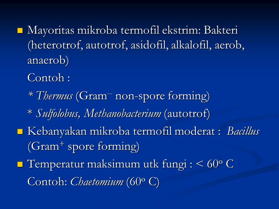 Untuk menentukan karakteristik umum dan mekanisme termofil sangat sulit Untuk menentukan karakteristik umum dan mekanisme termofil sangat sulit Yang perlu diperhatikan: Yang perlu diperhatikan: * Tekanan parsial Oksigen di lingk akuatik dan temperatur tinggi sangat rendah temperatur tinggi sangat rendah * Konsentrasi O 2 terlarut pd 90 o C kurang dr 2% drpd konsentrasi O 2 pd 20 o C 2% drpd konsentrasi O 2 pd 20 o C * Temp naik, pH turun dan kelarutan berbagai senyawa naik senyawa naik