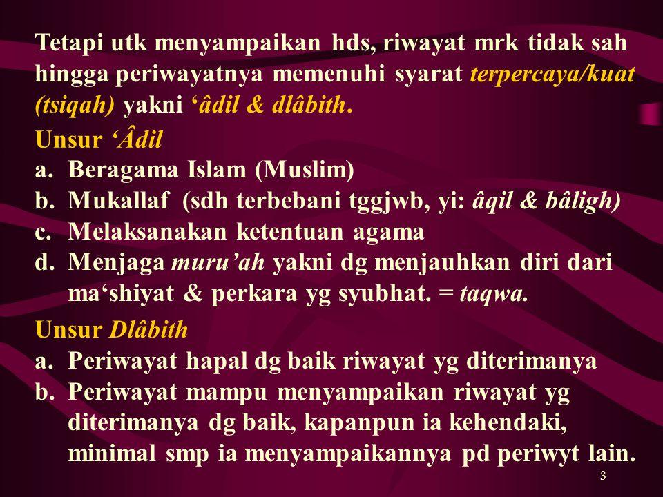 3 a.Beragama Islam (Muslim) b.Mukallaf (sdh terbebani tggjwb, yi: âqil & bâligh) c.Melaksanakan ketentuan agama d.Menjaga muru'ah yakni dg menjauhkan