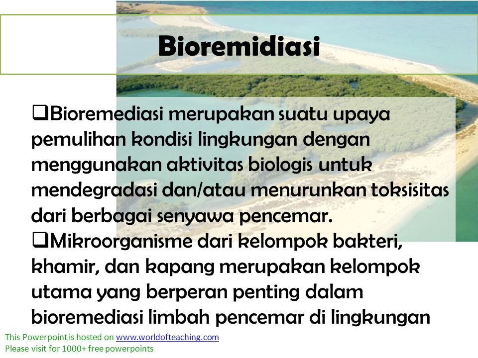 This Powerpoint is hosted on www.worldofteaching.comwww.worldofteaching.com Please visit for 1000+ free powerpoints Bioremidiasi  Bioremediasi merupa