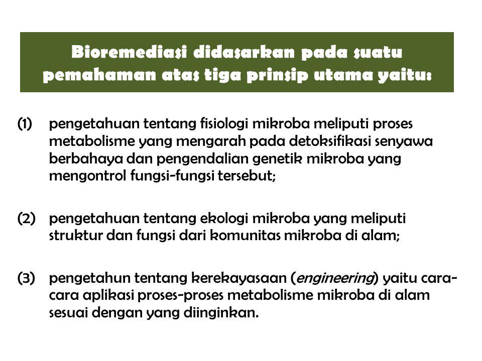 Bioremediasi didasarkan pada suatu pemahaman atas tiga prinsip utama yaitu: (1)pengetahuan tentang fisiologi mikroba meliputi proses metabolisme yang