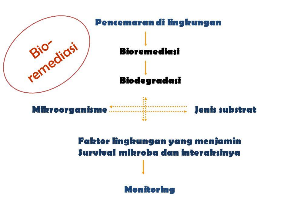 Pencemaran di lingkungan Bioremediasi Biodegradasi Mikroorganisme Faktor lingkungan yang menjamin Survival mikroba dan interaksinya Jenis substrat Mon