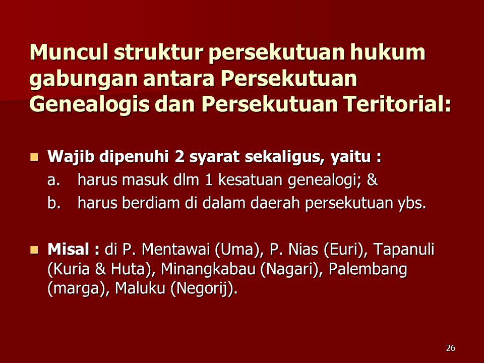 25 Persekutuan Teritorial Ada 3 jenis persekutuan teritorial : Ada 3 jenis persekutuan teritorial : 1. Persekutuan desa  apabila ada segolongan orang