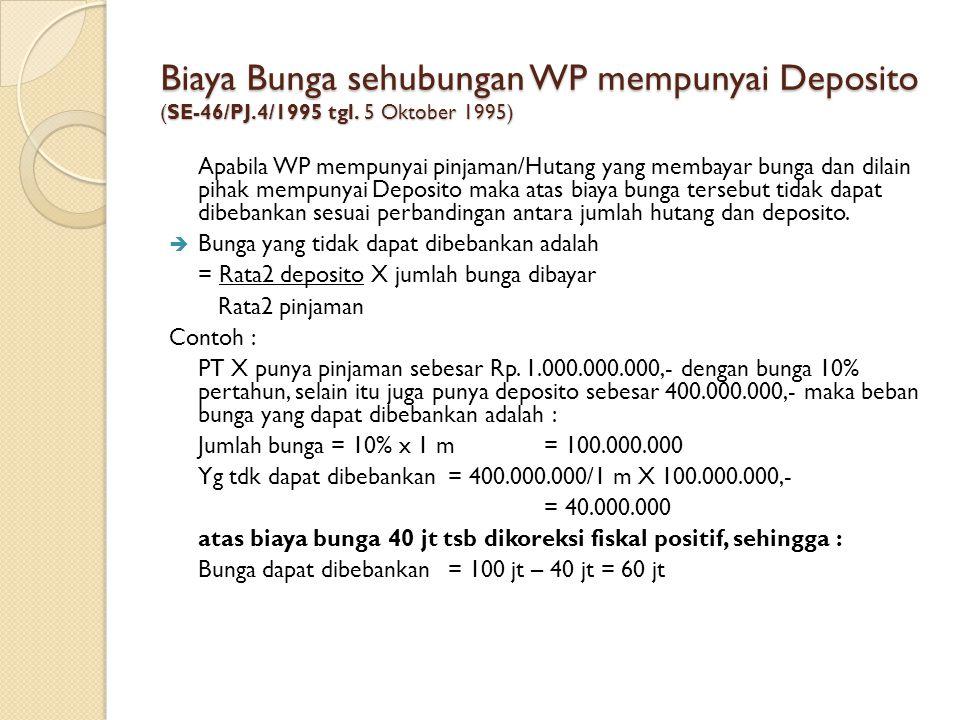 Biaya Bunga sehubungan WP mempunyai Deposito (SE-46/PJ.4/1995 tgl. 5 Oktober 1995) Apabila WP mempunyai pinjaman/Hutang yang membayar bunga dan dilain