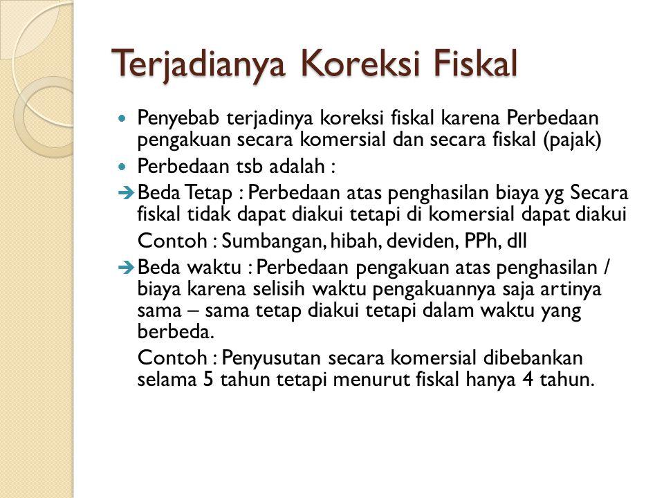 Terjadianya Koreksi Fiskal Penyebab terjadinya koreksi fiskal karena Perbedaan pengakuan secara komersial dan secara fiskal (pajak) Perbedaan tsb adal
