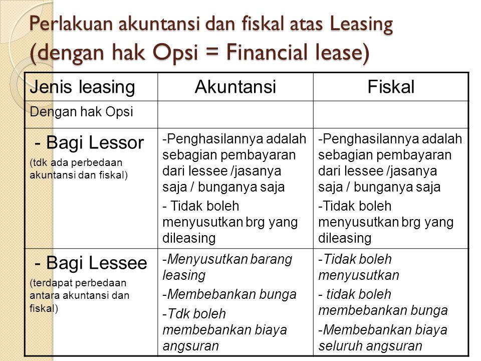 Perlakuan akuntansi dan fiskal atas Leasing (dengan hak Opsi = Financial lease) Jenis leasingAkuntansiFiskal Dengan hak Opsi - Bagi Lessor (tdk ada perbedaan akuntansi dan fiskal) -Penghasilannya adalah sebagian pembayaran dari lessee /jasanya saja / bunganya saja - Tidak boleh menyusutkan brg yang dileasing -Penghasilannya adalah sebagian pembayaran dari lessee /jasanya saja / bunganya saja -Tidak boleh menyusutkan brg yang dileasing - Bagi Lessee (terdapat perbedaan antara akuntansi dan fiskal) -Menyusutkan barang leasing -Membebankan bunga -Tdk boleh membebankan biaya angsuran -Tidak boleh menyusutkan - tidak boleh membebankan bunga -Membebankan biaya seluruh angsuran