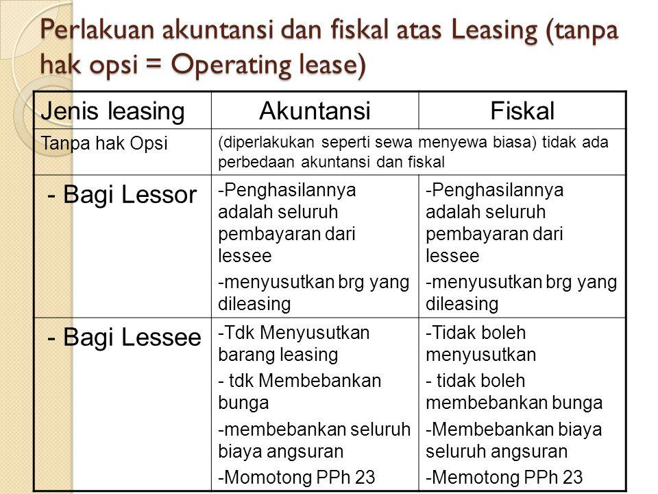Perlakuan akuntansi dan fiskal atas Leasing (tanpa hak opsi = Operating lease) Jenis leasingAkuntansiFiskal Tanpa hak Opsi (diperlakukan seperti sewa menyewa biasa) tidak ada perbedaan akuntansi dan fiskal - Bagi Lessor -Penghasilannya adalah seluruh pembayaran dari lessee -menyusutkan brg yang dileasing -Penghasilannya adalah seluruh pembayaran dari lessee -menyusutkan brg yang dileasing - Bagi Lessee -Tdk Menyusutkan barang leasing - tdk Membebankan bunga -membebankan seluruh biaya angsuran -Momotong PPh 23 -Tidak boleh menyusutkan - tidak boleh membebankan bunga -Membebankan biaya seluruh angsuran -Memotong PPh 23