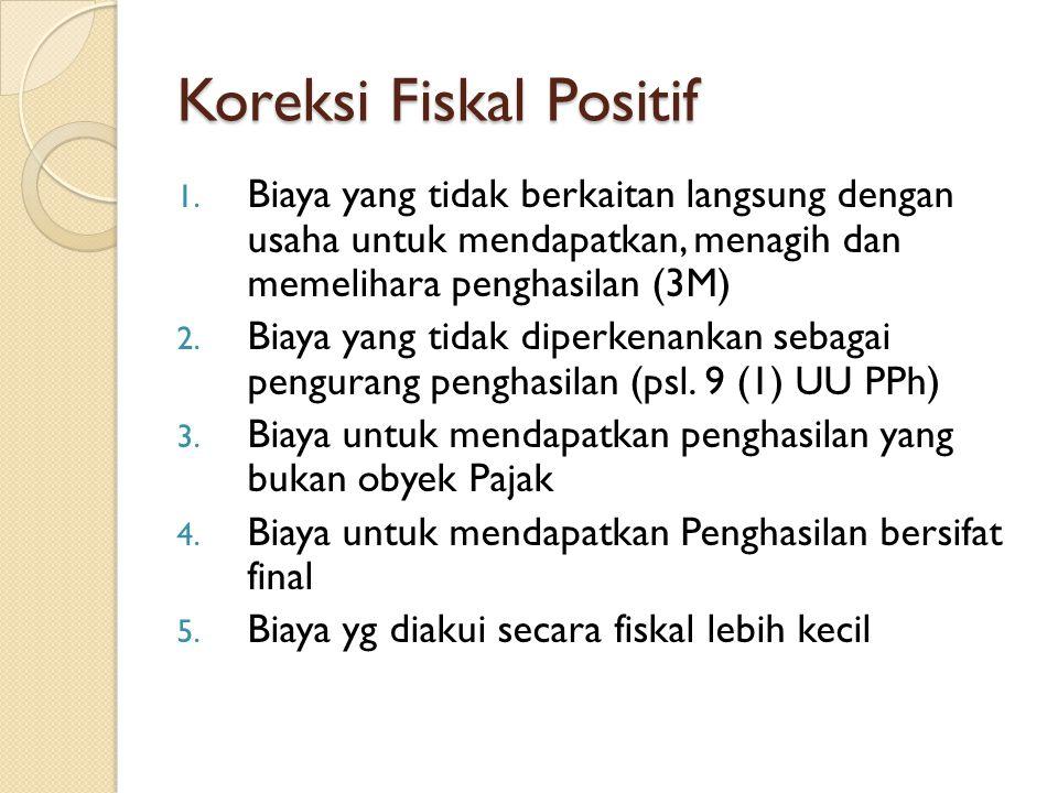 Koreksi Fiskal Positif 1. Biaya yang tidak berkaitan langsung dengan usaha untuk mendapatkan, menagih dan memelihara penghasilan (3M) 2. Biaya yang ti