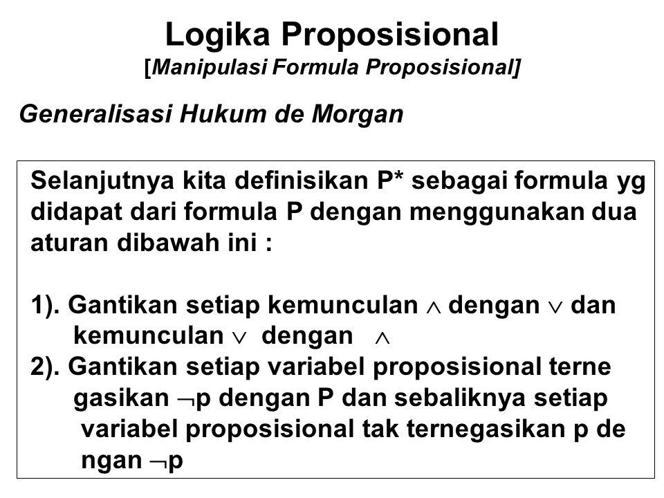 Logika Proposisional [Manipulasi Formula Proposisional] Generalisasi Hukum de Morgan Selanjutnya kita definisikan P* sebagai formula yg didapat dari f