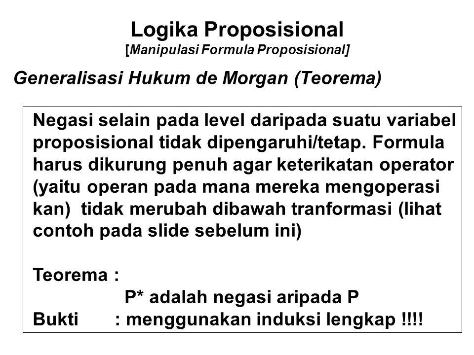 Logika Proposisional [Manipulasi Formula Proposisional] Generalisasi Hukum de Morgan (Teorema) Negasi selain pada level daripada suatu variabel propos