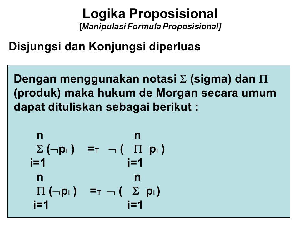 Logika Proposisional [Manipulasi Formula Proposisional] Disjungsi dan Konjungsi diperluas Dengan menggunakan notasi  (sigma) dan  (produk) maka huku