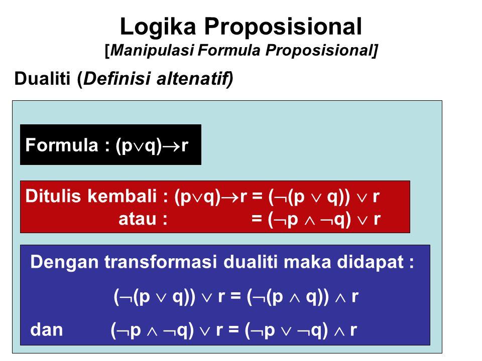 Logika Proposisional [Manipulasi Formula Proposisional] Dualiti (Definisi altenatif) Formula : (p  q)  r Ditulis kembali : (p  q)  r = (  (p  q)