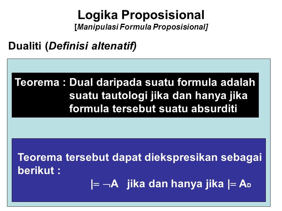 Logika Proposisional [Manipulasi Formula Proposisional] Dualiti (Definisi altenatif) Teorema : Dual daripada suatu formula adalah suatu tautologi jika