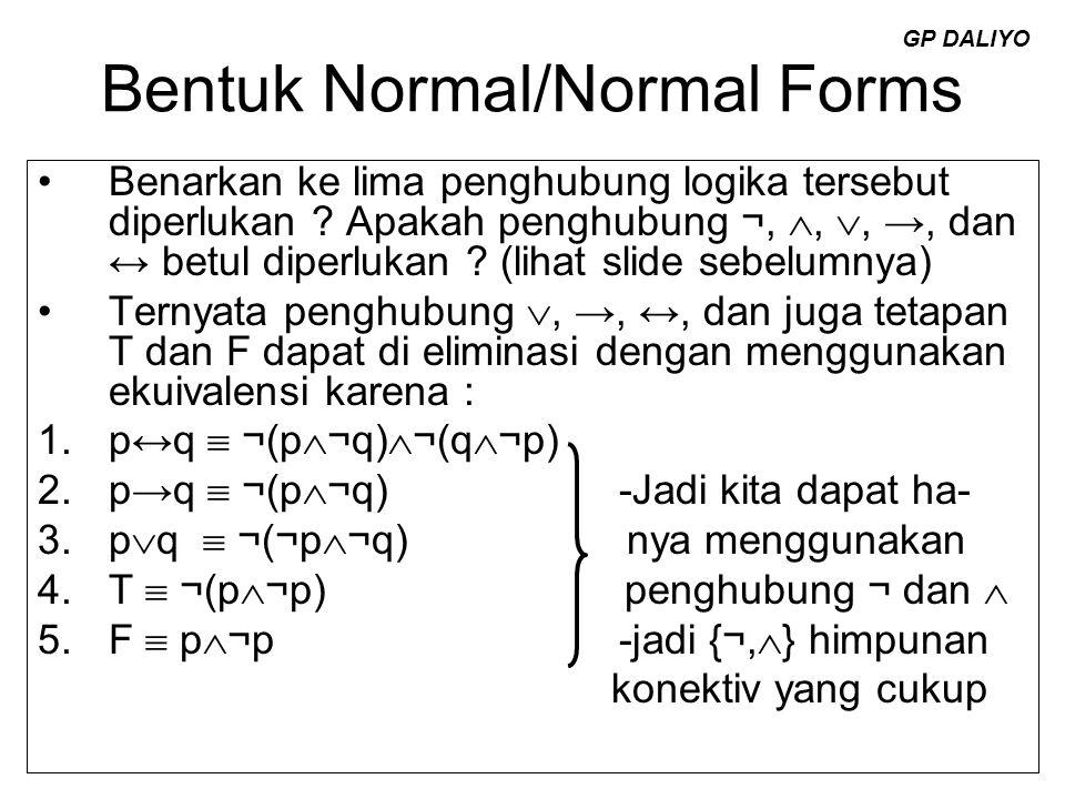 Bentuk Normal/Normal Forms Benarkan ke lima penghubung logika tersebut diperlukan ? Apakah penghubung ¬, , , →, dan ↔ betul diperlukan ? (lihat slid