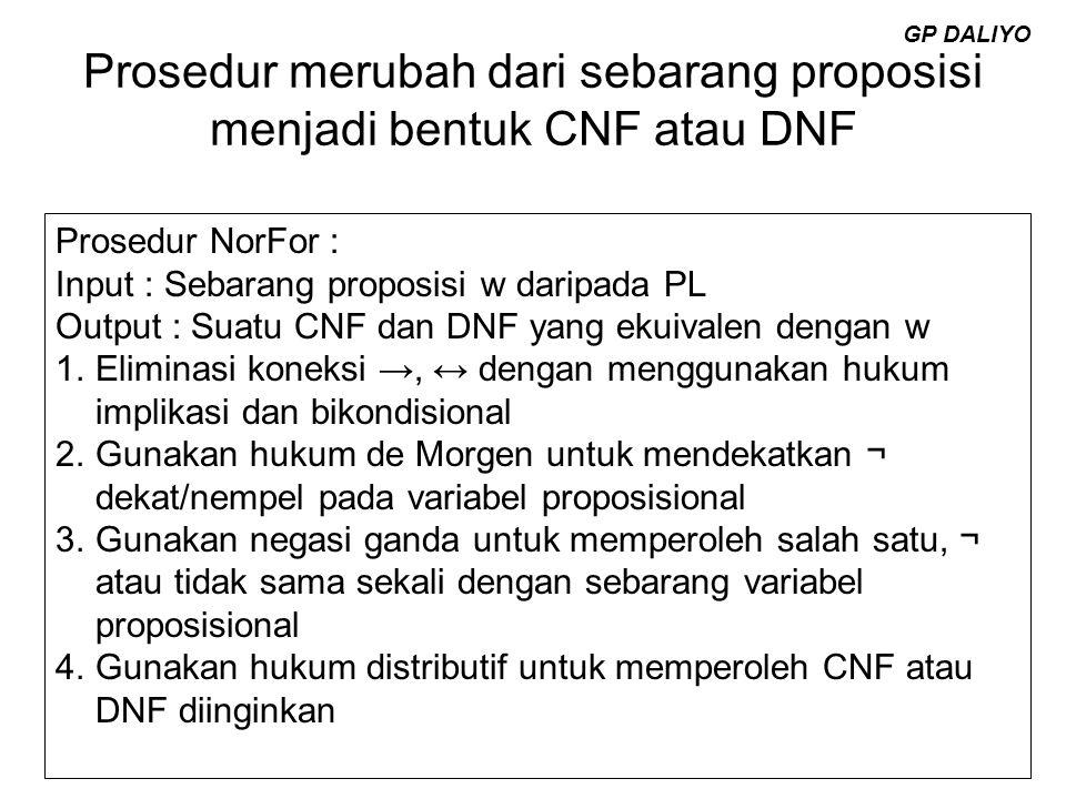 Prosedur merubah dari sebarang proposisi menjadi bentuk CNF atau DNF Prosedur NorFor : Input : Sebarang proposisi w daripada PL Output : Suatu CNF dan