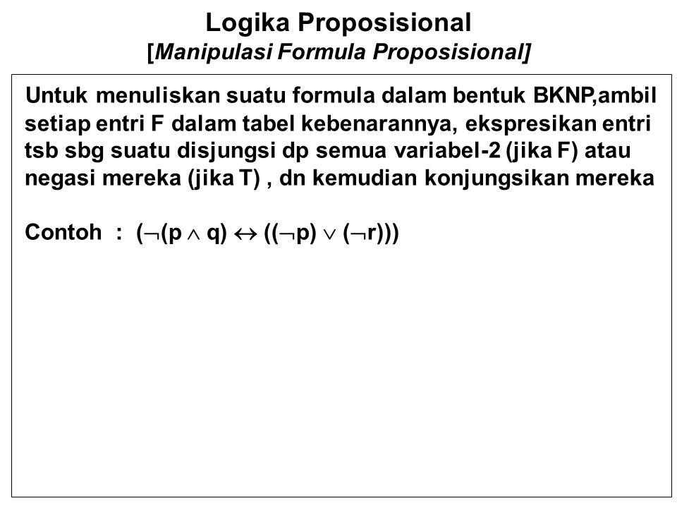 Logika Proposisional [Manipulasi Formula Proposisional] Untuk menuliskan suatu formula dalam bentuk BKNP,ambil setiap entri F dalam tabel kebenarannya