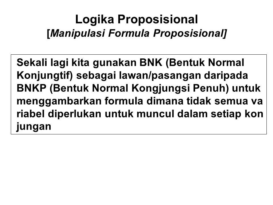 Logika Proposisional [Manipulasi Formula Proposisional] Sekali lagi kita gunakan BNK (Bentuk Normal Konjungtif) sebagai lawan/pasangan daripada BNKP (