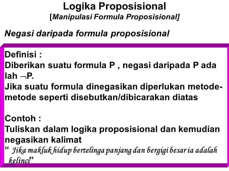 Logika Proposisional [Manipulasi Formula Proposisional] Negasi daripada formula proposisional Definisi : Diberikan suatu formula P, negasi daripada P