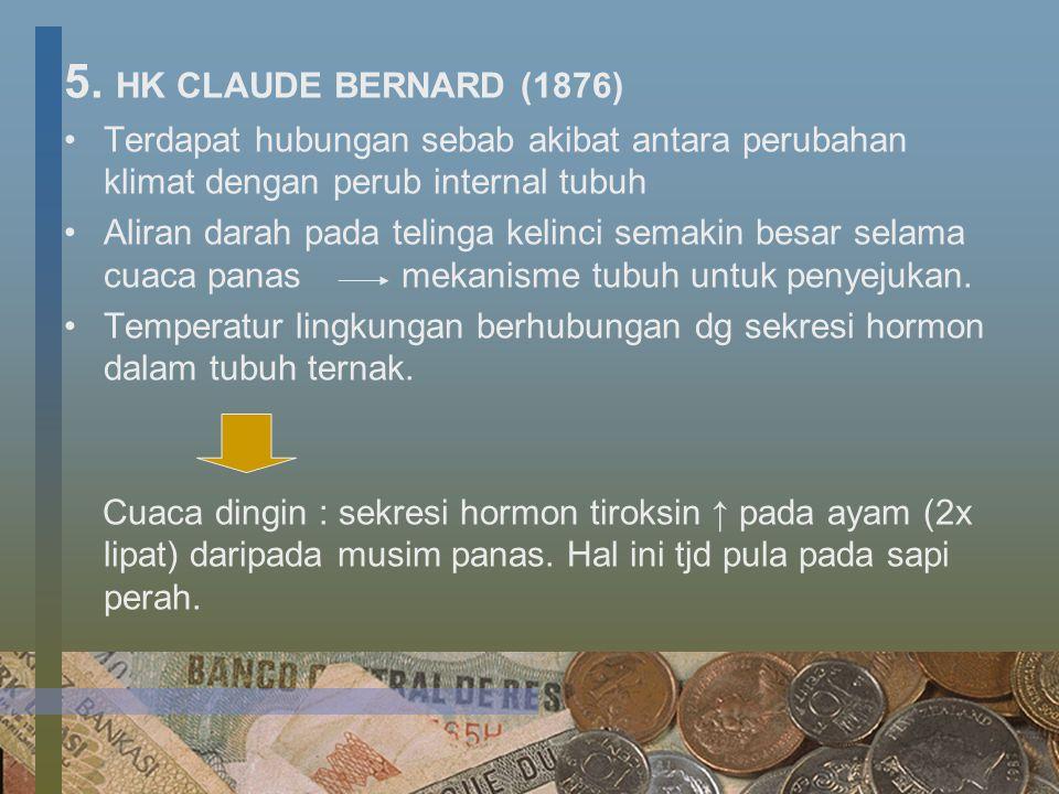 5. HK CLAUDE BERNARD (1876) Terdapat hubungan sebab akibat antara perubahan klimat dengan perub internal tubuh Aliran darah pada telinga kelinci semak