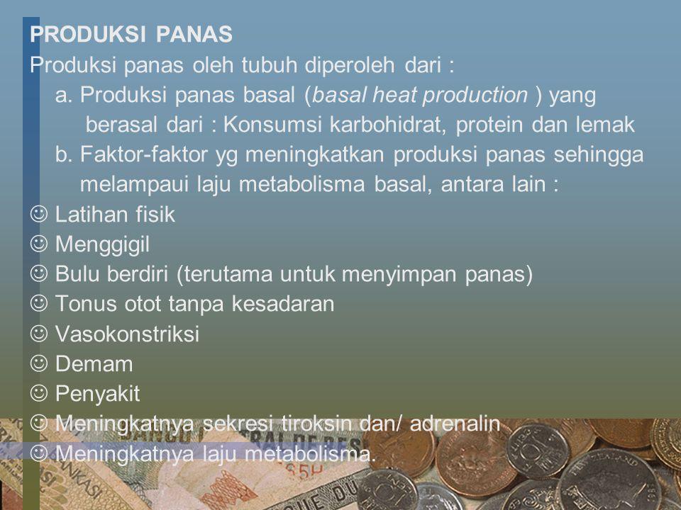 PRODUKSI PANAS Produksi panas oleh tubuh diperoleh dari : a. Produksi panas basal (basal heat production ) yang berasal dari : Konsumsi karbohidrat, p
