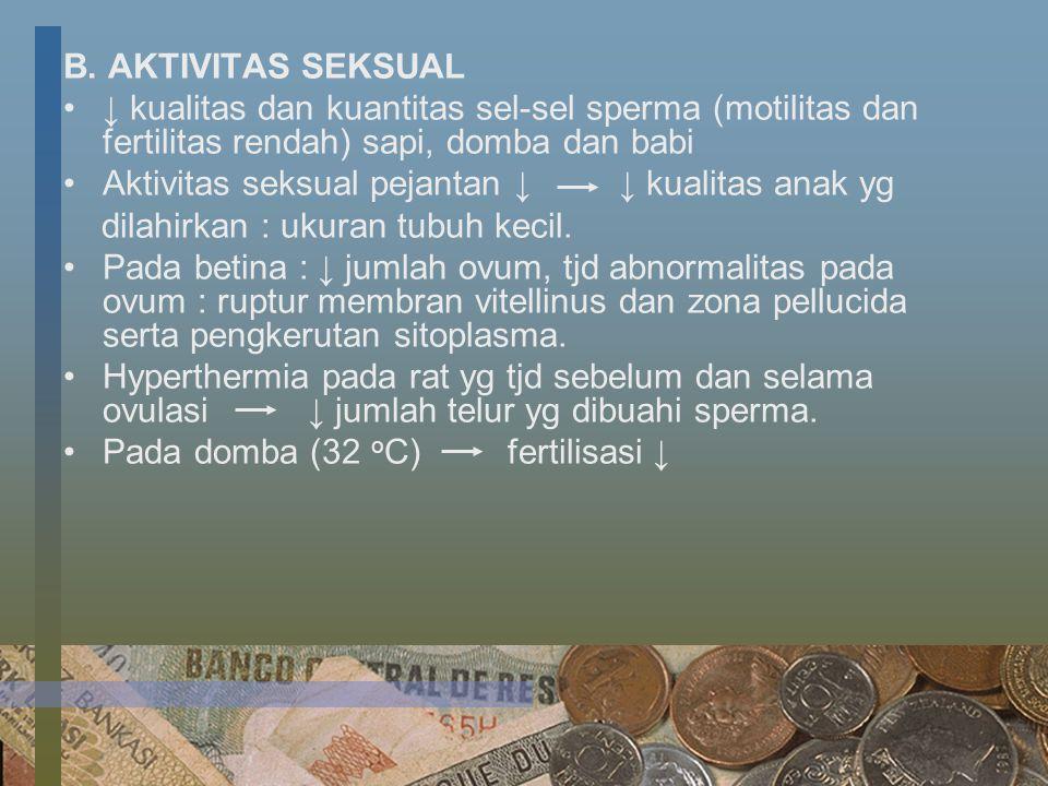B. AKTIVITAS SEKSUAL ↓ kualitas dan kuantitas sel-sel sperma (motilitas dan fertilitas rendah) sapi, domba dan babi Aktivitas seksual pejantan ↓ ↓ kua
