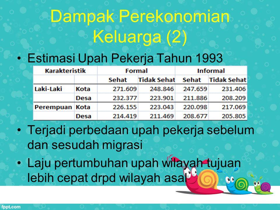Dampak Perekonomian Keluarga (2) Estimasi Upah Pekerja Tahun 1993 Terjadi perbedaan upah pekerja sebelum dan sesudah migrasi Laju pertumbuhan upah wilayah tujuan lebih cepat drpd wilayah asal