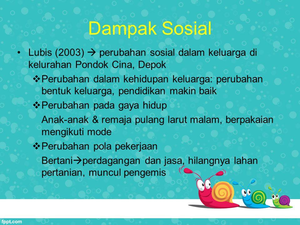 Dampak Sosial Lubis (2003)  perubahan sosial dalam keluarga di kelurahan Pondok Cina, Depok  Perubahan dalam kehidupan keluarga: perubahan bentuk ke