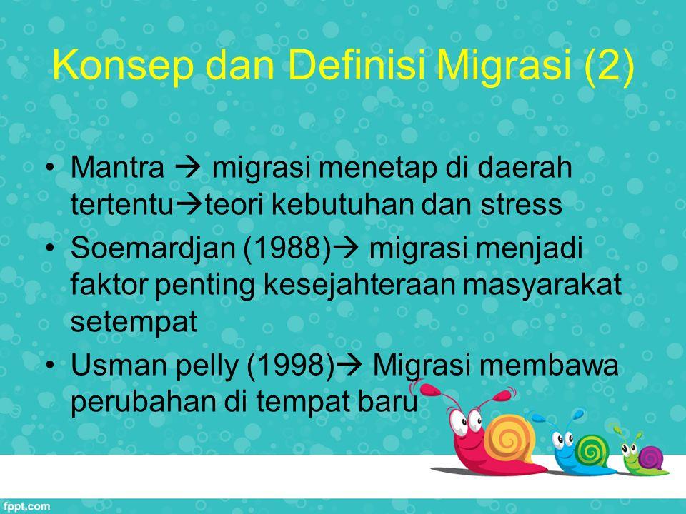 Konsep dan Definisi Migrasi (2) Mantra  migrasi menetap di daerah tertentu  teori kebutuhan dan stress Soemardjan (1988)  migrasi menjadi faktor pe