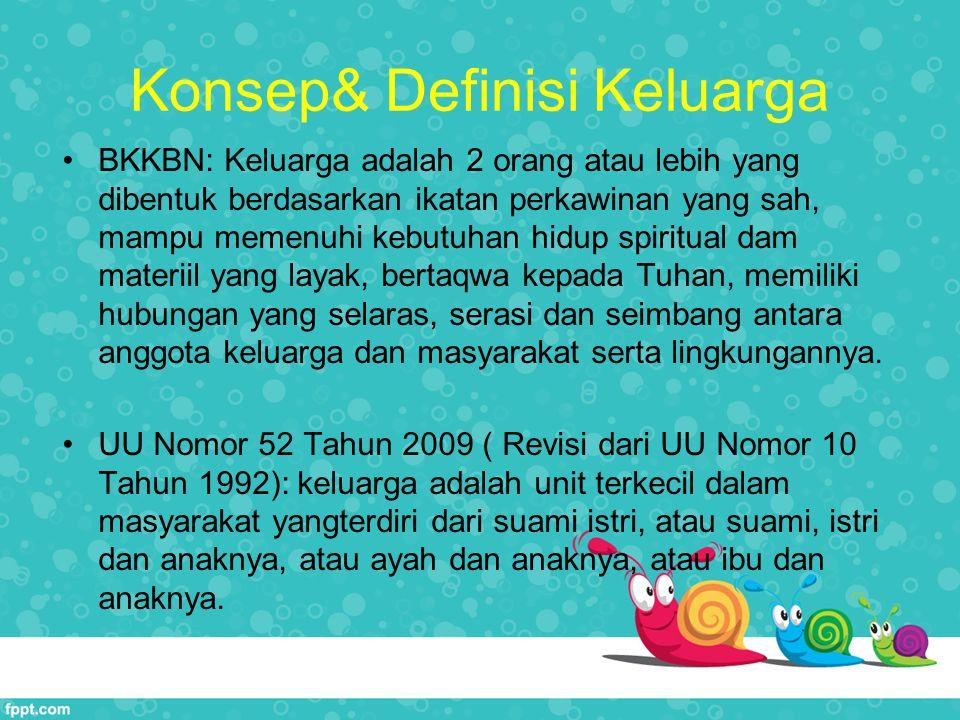 Konsep& Definisi Keluarga BKKBN: Keluarga adalah 2 orang atau lebih yang dibentuk berdasarkan ikatan perkawinan yang sah, mampu memenuhi kebutuhan hid