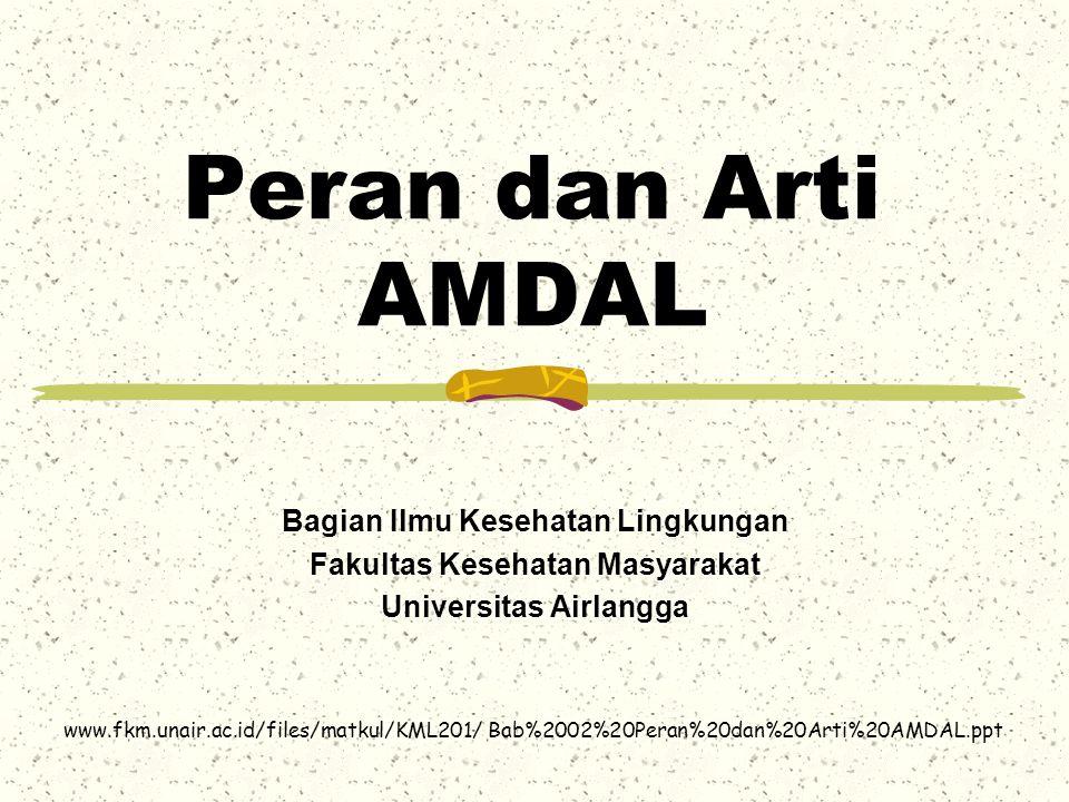 Konsep AMDAL di Indonesia AMDAL secara formal berasal dr US National Environmental Policy Act (NEPA) th 1969; Dalam UU ini AMDAL dimaksudkan sbg alat untuk tindakan preventif thd kerusakan lingk dan ggn kes yg mungkin timbul oleh aktivitas manusia (pemb ekonomi dan industri); Di Indonesia konsep AMDAL tersurat dalam UU RI No.
