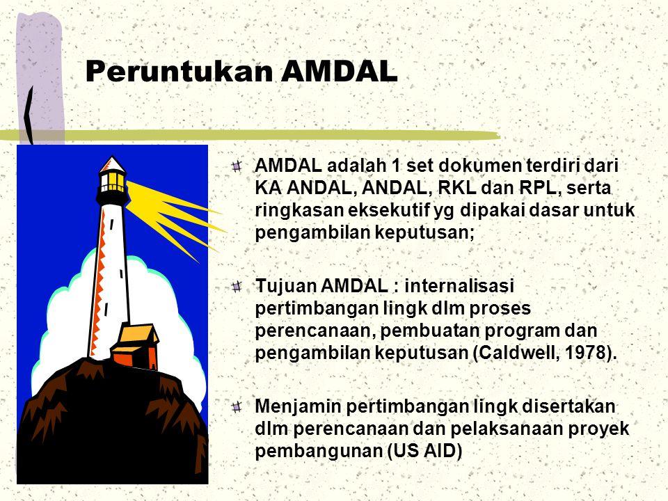 Peruntukan AMDAL AMDAL adalah 1 set dokumen terdiri dari KA ANDAL, ANDAL, RKL dan RPL, serta ringkasan eksekutif yg dipakai dasar untuk pengambilan ke