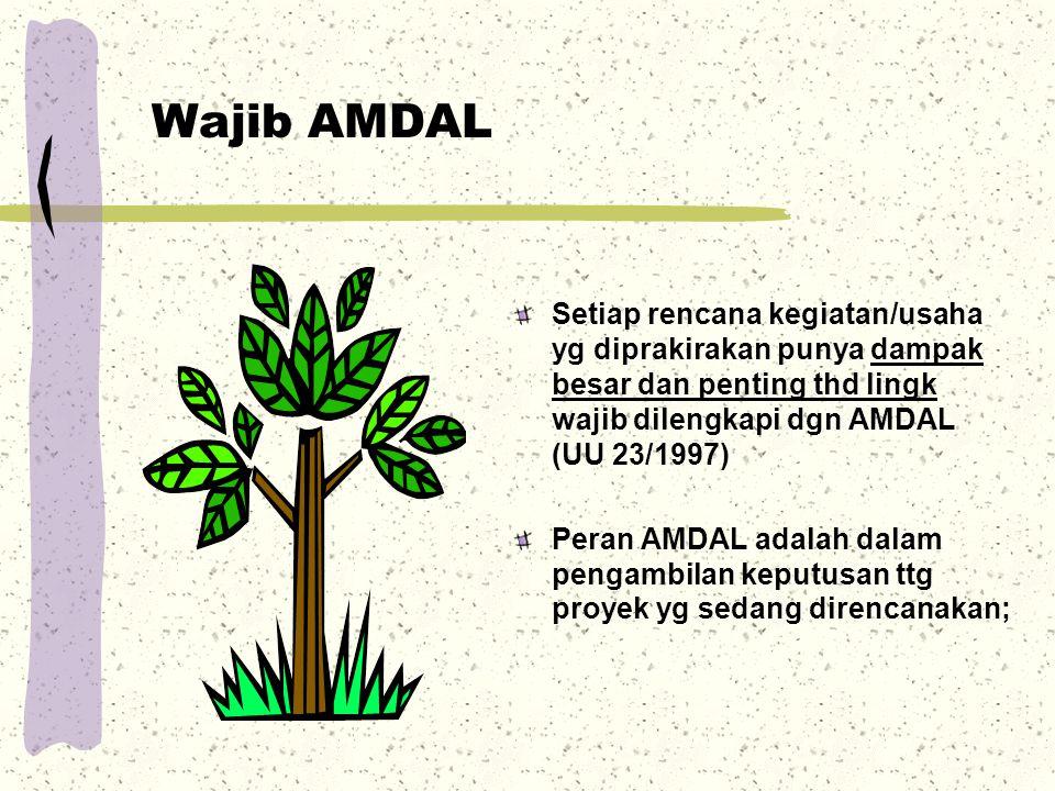 Wajib AMDAL Setiap rencana kegiatan/usaha yg diprakirakan punya dampak besar dan penting thd lingk wajib dilengkapi dgn AMDAL (UU 23/1997) Peran AMDAL