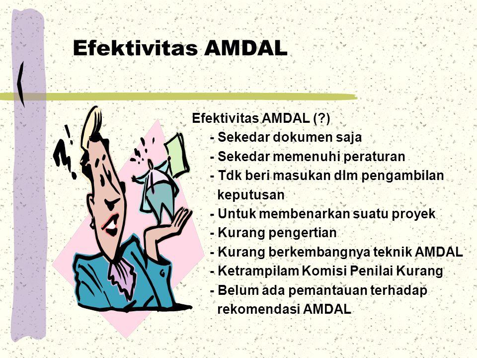 Efektivitas AMDAL Efektivitas AMDAL (?) - Sekedar dokumen saja - Sekedar memenuhi peraturan - Tdk beri masukan dlm pengambilan keputusan - Untuk membe