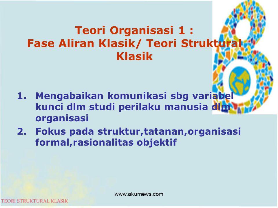 Teori Organisasi 1 : Fase Aliran Klasik/ Teori Struktural Klasik 1.Mengabaikan komunikasi sbg variabel kunci dlm studi perilaku manusia dlm organisasi 2.Fokus pada struktur,tatanan,organisasi formal,rasionalitas objektif www.akurnews.com