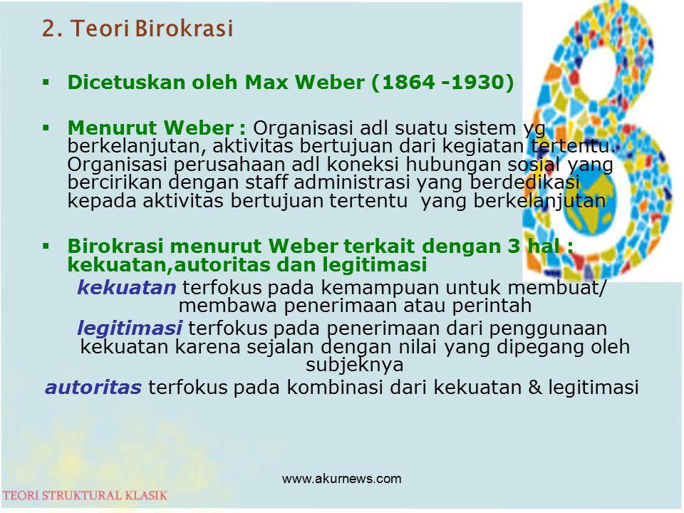 2. Teori Birokrasi  Dicetuskan oleh Max Weber (1864 -1930)  Menurut Weber : Organisasi adl suatu sistem yg berkelanjutan, aktivitas bertujuan dari k