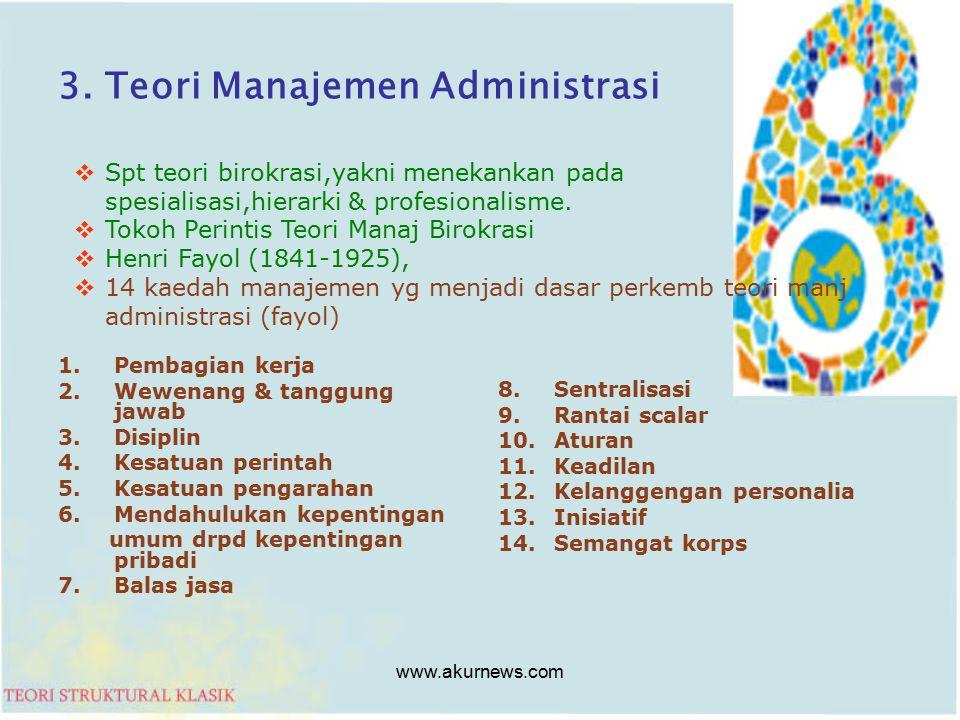 3. Teori Manajemen Administrasi 1.Pembagian kerja 2.Wewenang & tanggung jawab 3.Disiplin 4.Kesatuan perintah 5.Kesatuan pengarahan 6.Mendahulukan kepe